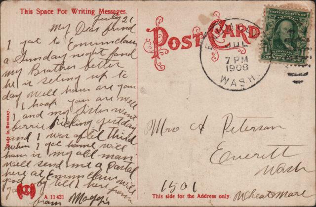 Enumclaw postcard, July 1908, back