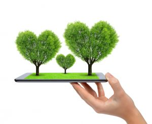 Hand holding tablet computer with trees in the shape of heart isolated on white background