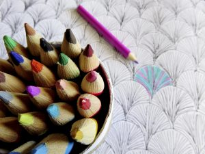Colouring pencils and book for adults and kids to bring on mindfulness and creativity.