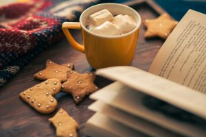 Coffee with marshmellou and book