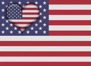 US Flag with US Heart Shape. Concept for valentines day, veterans day, independence day, columbus day and labor day. Digitally created image.