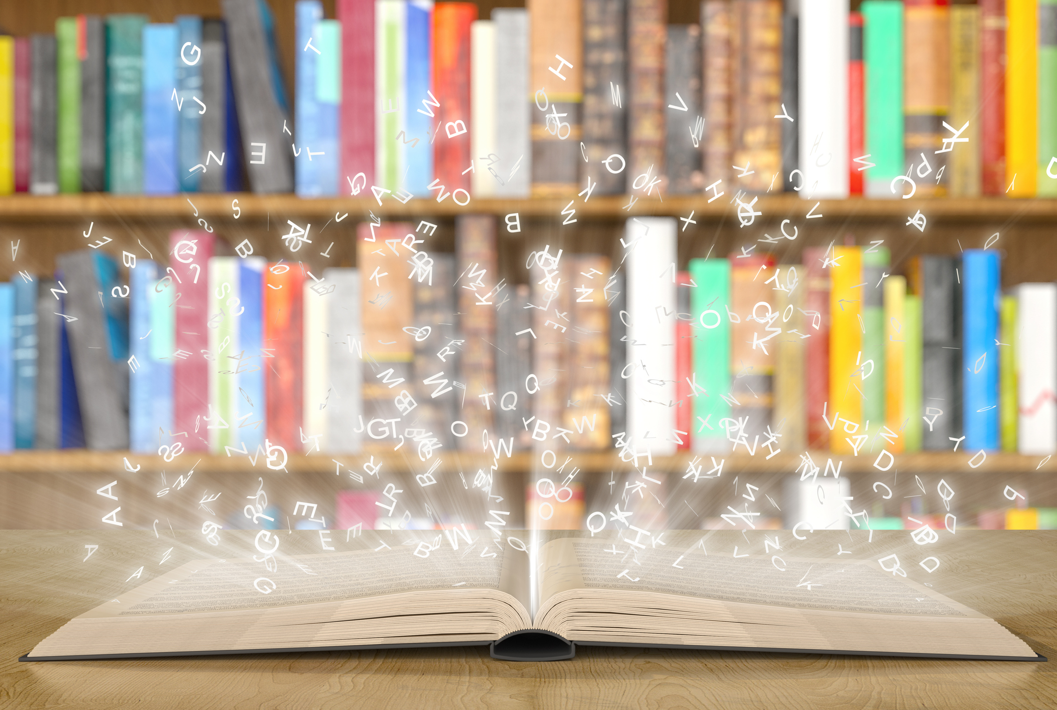 Open magic book with magic lights on a bookshelf