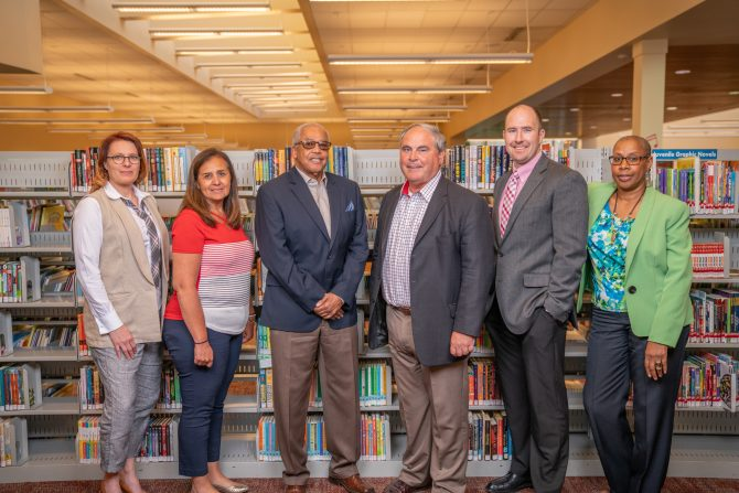 Library Board of Trustees with Library director Kate Larsen in 2018