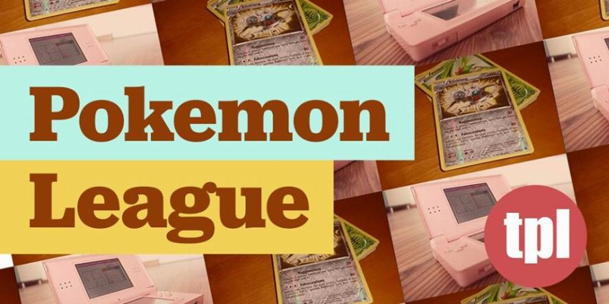 Pokemon cards and handheld video game console