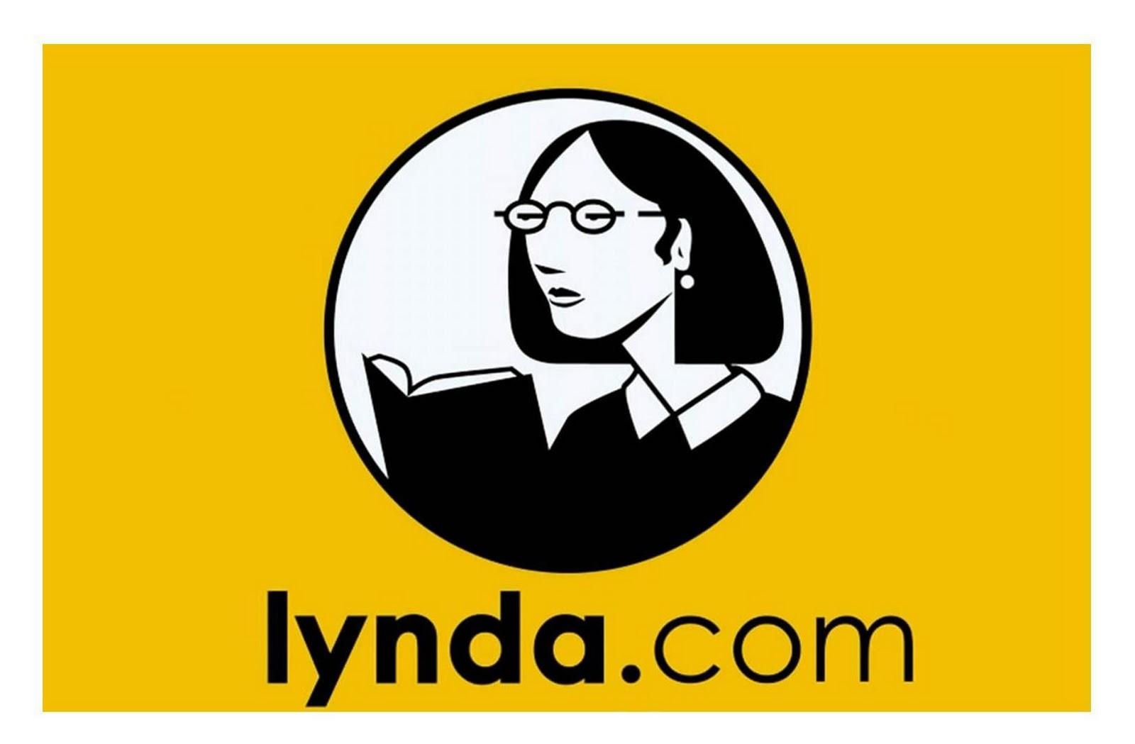 Woman reading a book - Lynda.com logo