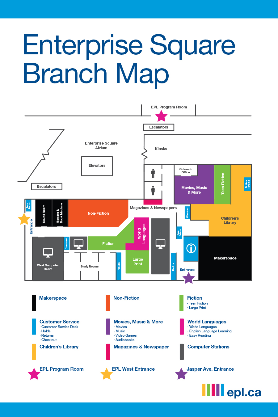 Map of EPL's Enterprise Square Branch