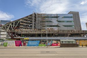 The Milner Library under construction in May 2018.
