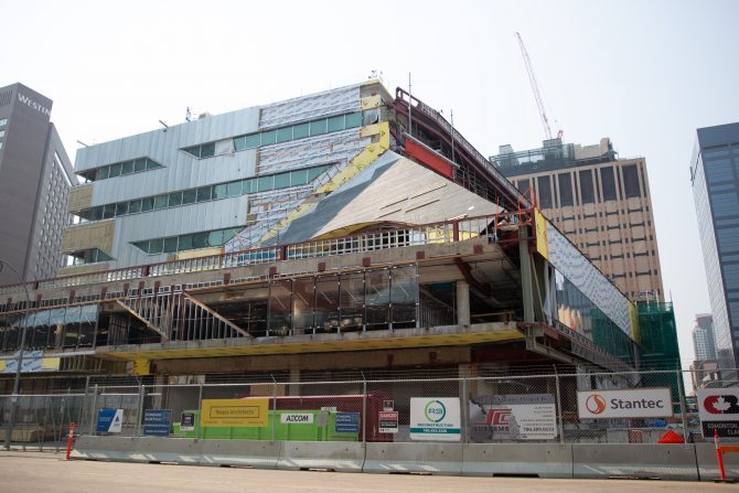 Construction continues on the Stanley A. Milner Library, seen here in July 2018.