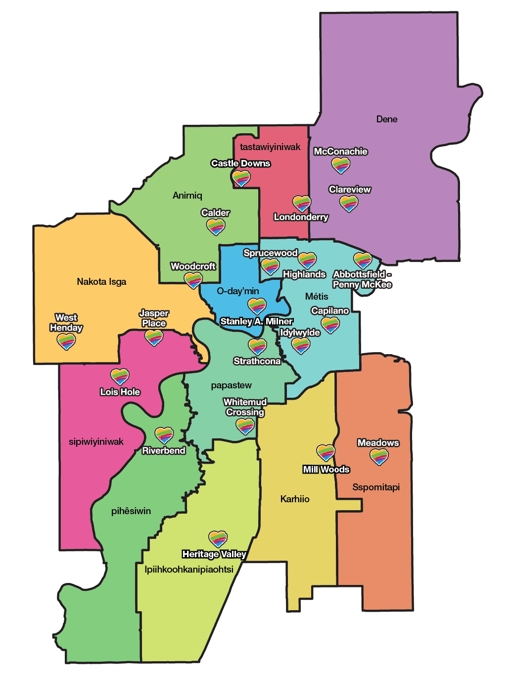 Ward map of Edmonton showing location of all EPL branches