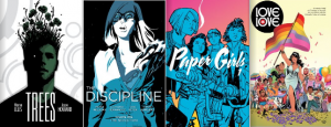 Title covers for the comic books Trees, Paper Girls, The Discipline, and Love is Love