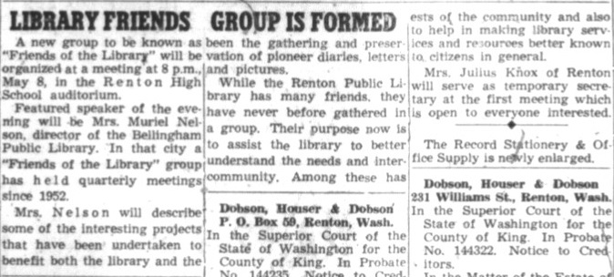 Renton News Record clipping from 1957 detailing the formation of the Friends of the Renton Library group