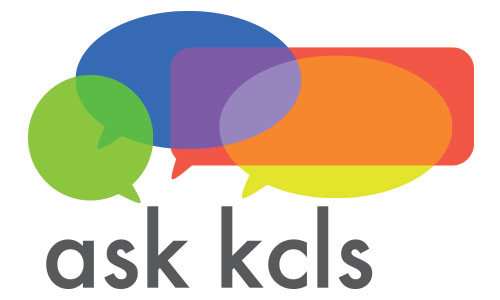 Contact Ask KCLS (Ask KCLS logo comprised of Ask KCLS text and colorful overlapping speech bubbles)