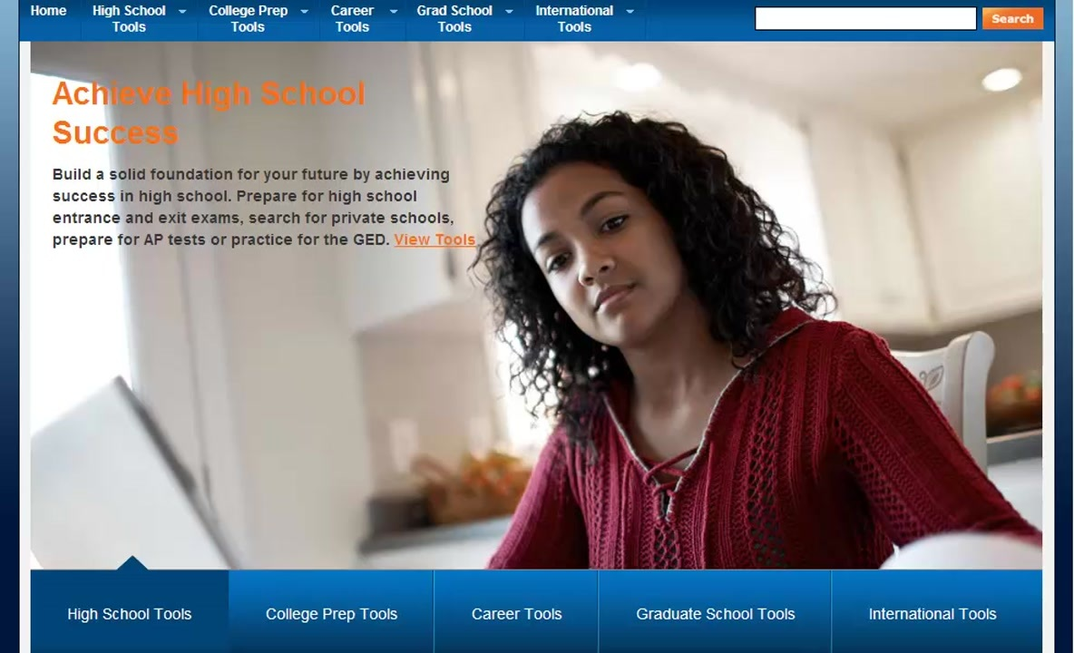 """Testing Education Reference Center screenshot of """"Achieve High School Success"""" page"""