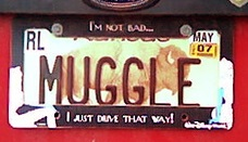 """A car license plate with """"Muggle"""" as the number."""