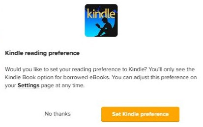 Screenshot of the option to select Kindle as your preferred format.