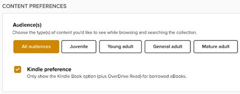 Screenshot of the new option that will be added to the Settings page enabling users to select Kindle Book as their preferred format.
