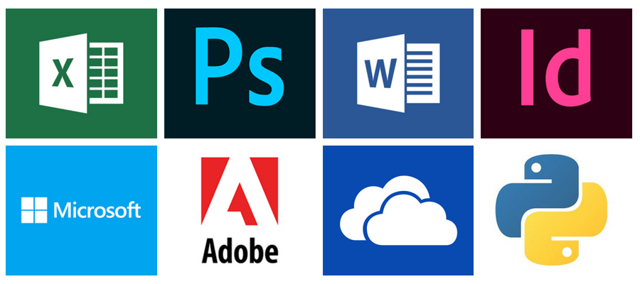 Excel, PhotoShop, Microsoft Word, InDesign, Microsoft, Adobe, Creative Cloud, Python logos