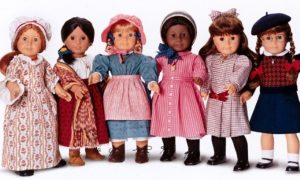 American Girl dolls: Felicity, Josefina, Kirsten, Addy, Samantha, Molly