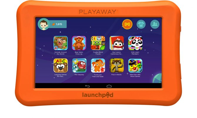 Playaway Launchpad screenshot. Animals around the world. Bear salon dress up. Frosby Block Puzzle. Gus Learns Cantonese. Kids Learn Mandarin. Learning Games for Kids. Pet Odyssey. PumiLumi Hide-and-seek. Puss in Boots. Wee Kids ABC word games.