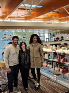 Russell Wilson, KCLS Executive Director Lisa Rosenblum, and Ciara