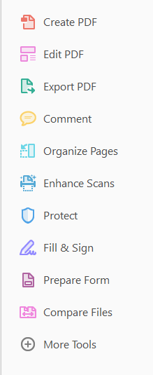 Right side menu of Acrobat 2017 illustrate choices of actions: Create PDF, Edit PDF, Export PDF, Comment, Organize pages, Enhance Scans, Protect, Fill & Sign, Prepare Form, Compare Files, and more tools.