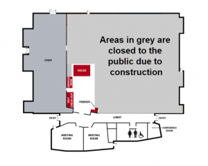 Floor map of the Redmond Library. The areas in gray are closed to the public during construction: main library area, computer area, collection, study rooms. These spaces are open regular hours during construction: lobby, holds pickup, check-out desk, meeting rooms, public restrooms, and conference room.