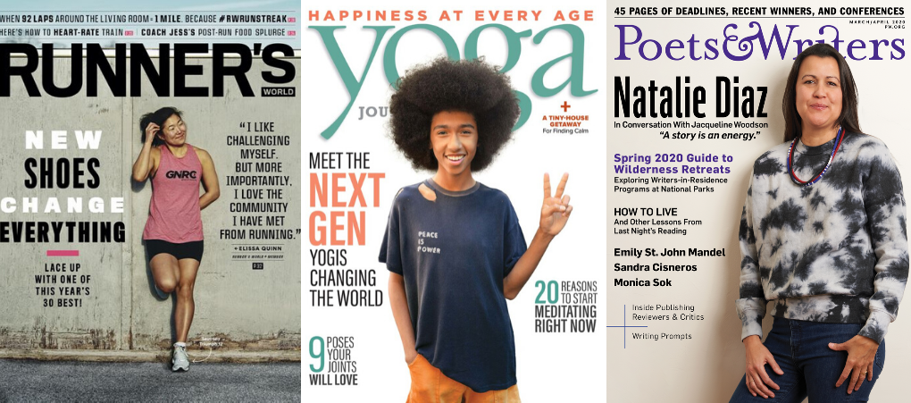 Runner's Yoga, and Poets & Writers magazines