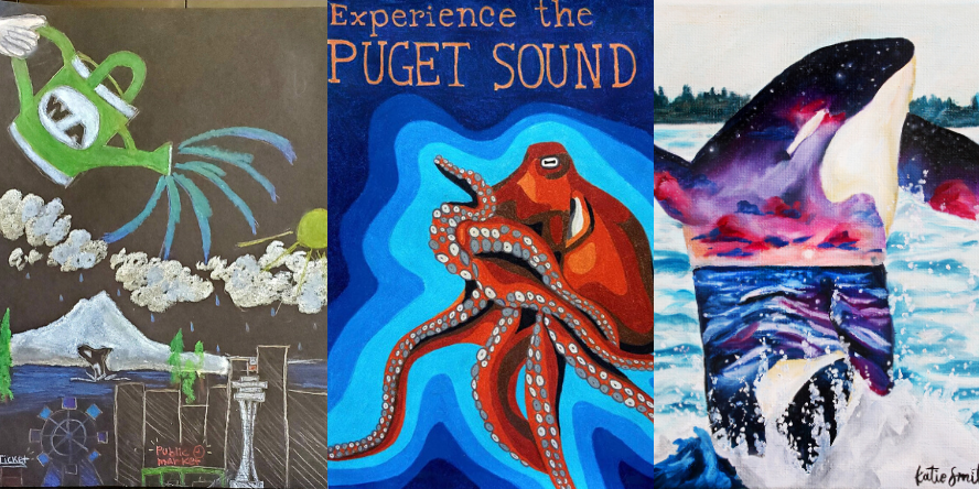 Artwork by Kathryn Chong (watering can watering the city of Seattle skyline and Puget Sound), Rachel Jones (Experience the Puget Sound rendering of a bright orange octopus surrounded by shades of blue), and Katelyn Smith (an orca glimmering with iridescence surfacing in the Sound).