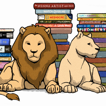 Literary Lions Gala, March 6, 2021. To benefit the King County Library System. Watercolor lions lying in front of stacks of books.