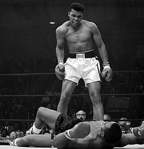 Photo of Muhammad Ali during a boxing match. Source: The documentary Muhammad Ali The Greatest.