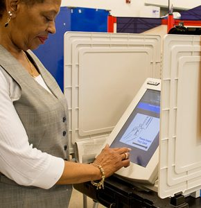 Photo of woman voting. Source: Maryland GovPics, Flickr