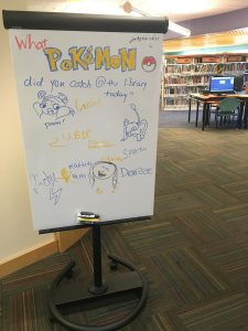 White board listing the different Pokémon caught at San Carlos Library