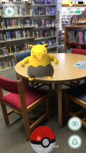 Drowzee on a table at Pacifica Sanchez Library.