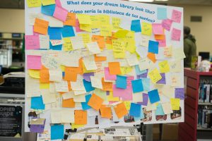 A board of post-it note ideas from East Palo Alto Library patrons about their dream library