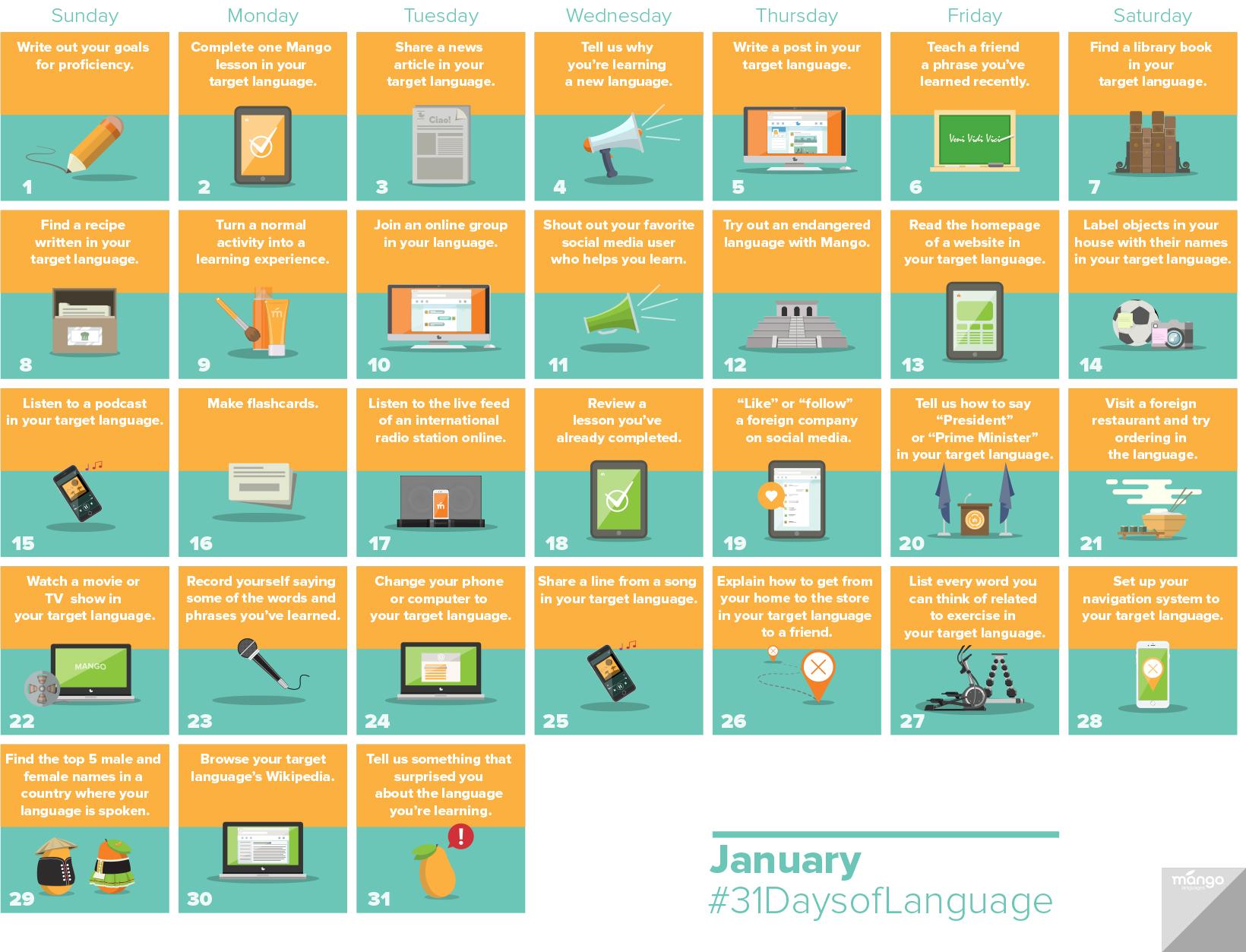 The Mango Languages 31 Days of Language Challenge.