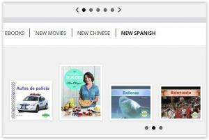 Screenshot of new spanish books carousel on website..