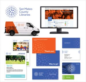 Examples of the new San Mateo County Libraries rebranding.