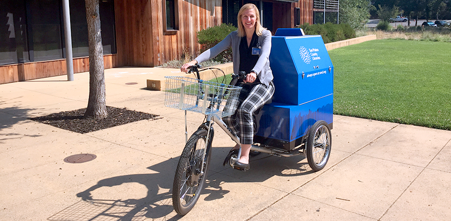 Amy, one of our smiling, biking library staff, coming to an event near you!