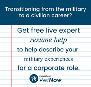 Get free live expert resume help to help describe your military experiences for a corporate role.