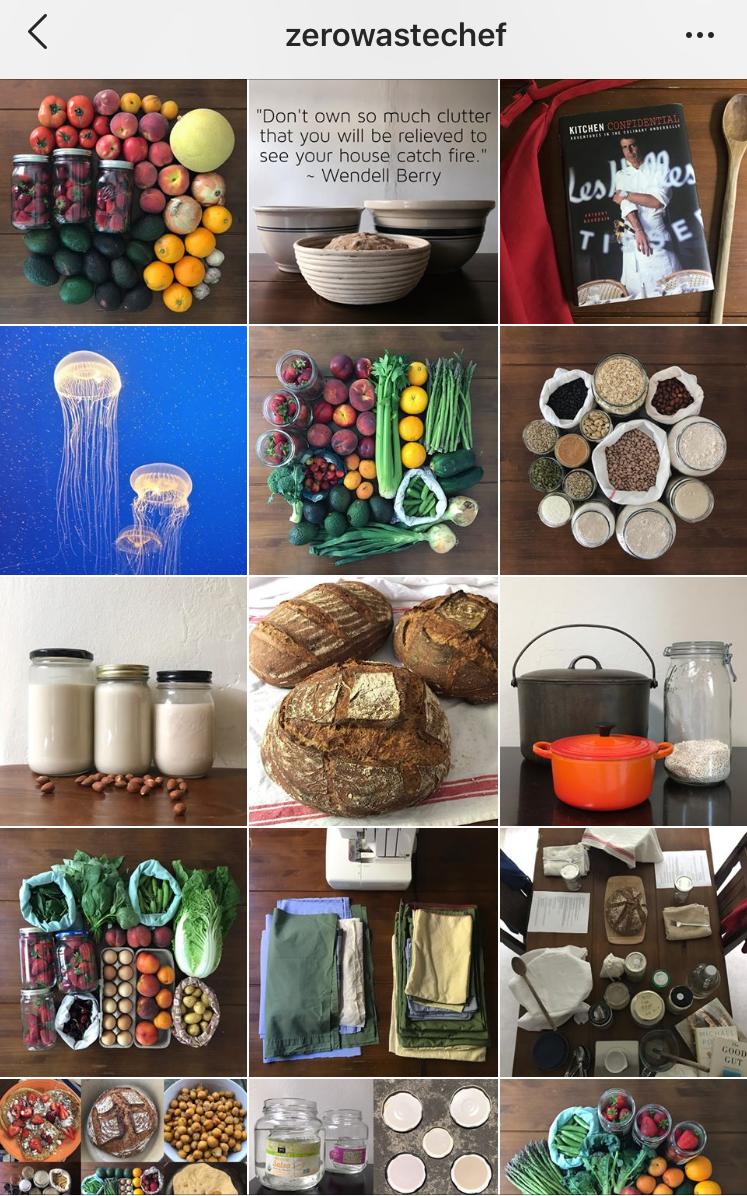 Screenshot of @zerowastechef's Instagram feed.