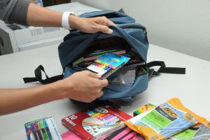 Backpack and school supplies.
