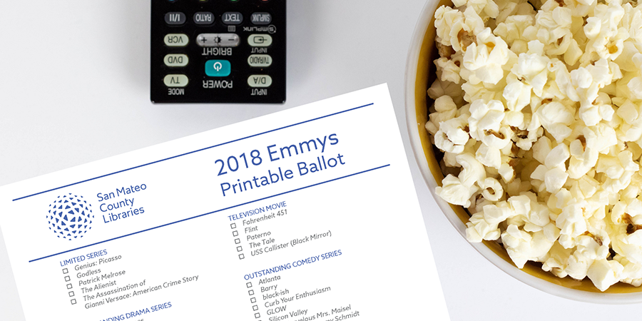 SMCL 2018 Emmy Ballot with bowl of popcorn and TV remote.