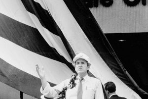 Tom Harkin Iowa Senator and Congressman Senator Tom Harkin at a rally at Omaha's W. Dale Clark Library 9/15/1986