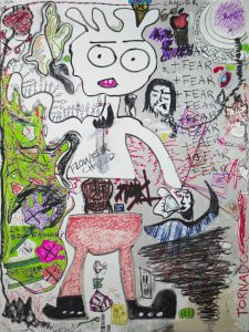 """RATSKULL,Tornado!,"" 2016, Wall drawing by artist Paul Hanson Clark."