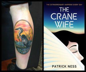 photo of crane tattoo and book, the Crane Wife