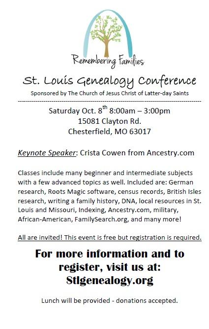 St. Louis Genealogy Conference, October 8, 2016