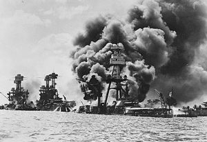 USS Arizona in flames (NARA photo)