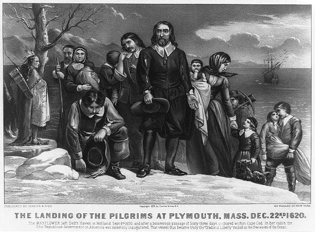 Pilgrims at Plymouth Rock