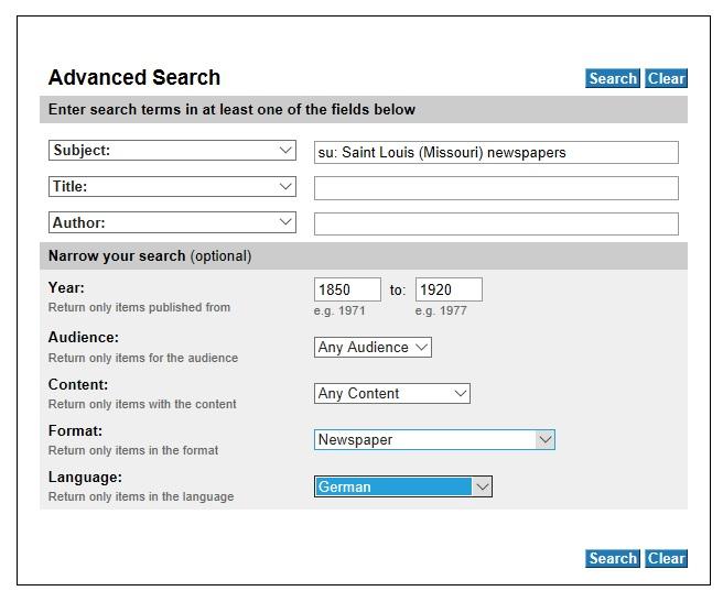 WorldCat.org Advanced Search screen
