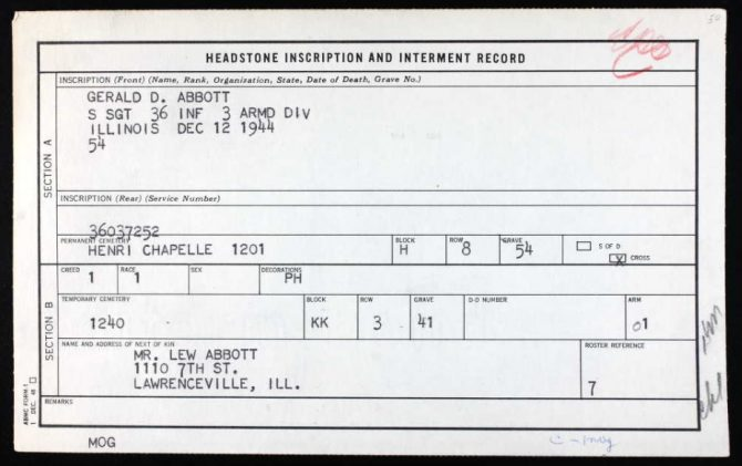 U S , Headstone and Interment Records for U S  Military Cemeteries